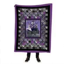 Cartoon Unicorn Velvet Plush Jack Throw Blanket Floral Printed for Kids Girls Sherpa Couch Black Thin Quilt