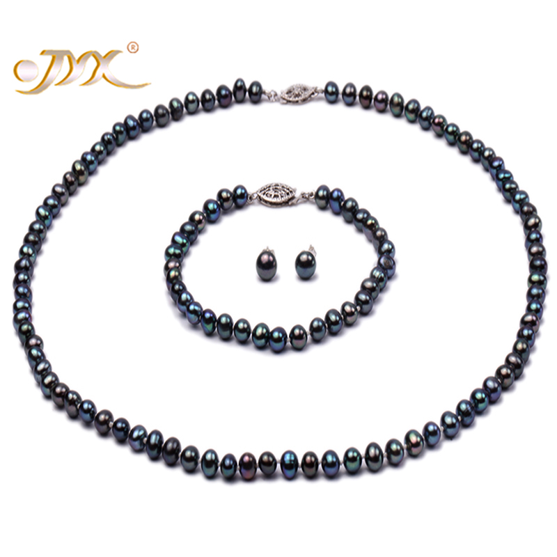 JYX Pearl Set 5-5.5mm Round Peacock Blue Freshwater Pearl Necklace Bracelet and Earrings Set a suit of chic fake pearl rhinestoned round clover necklace and earrings for women page 4