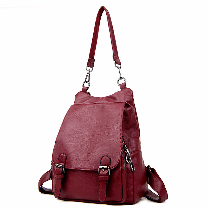 HOT 2018 New Style Solid Color PU Leather Woman's Backpack Casual Girl's School Bag Multi-function Laptop Bag Exquisite Backpack