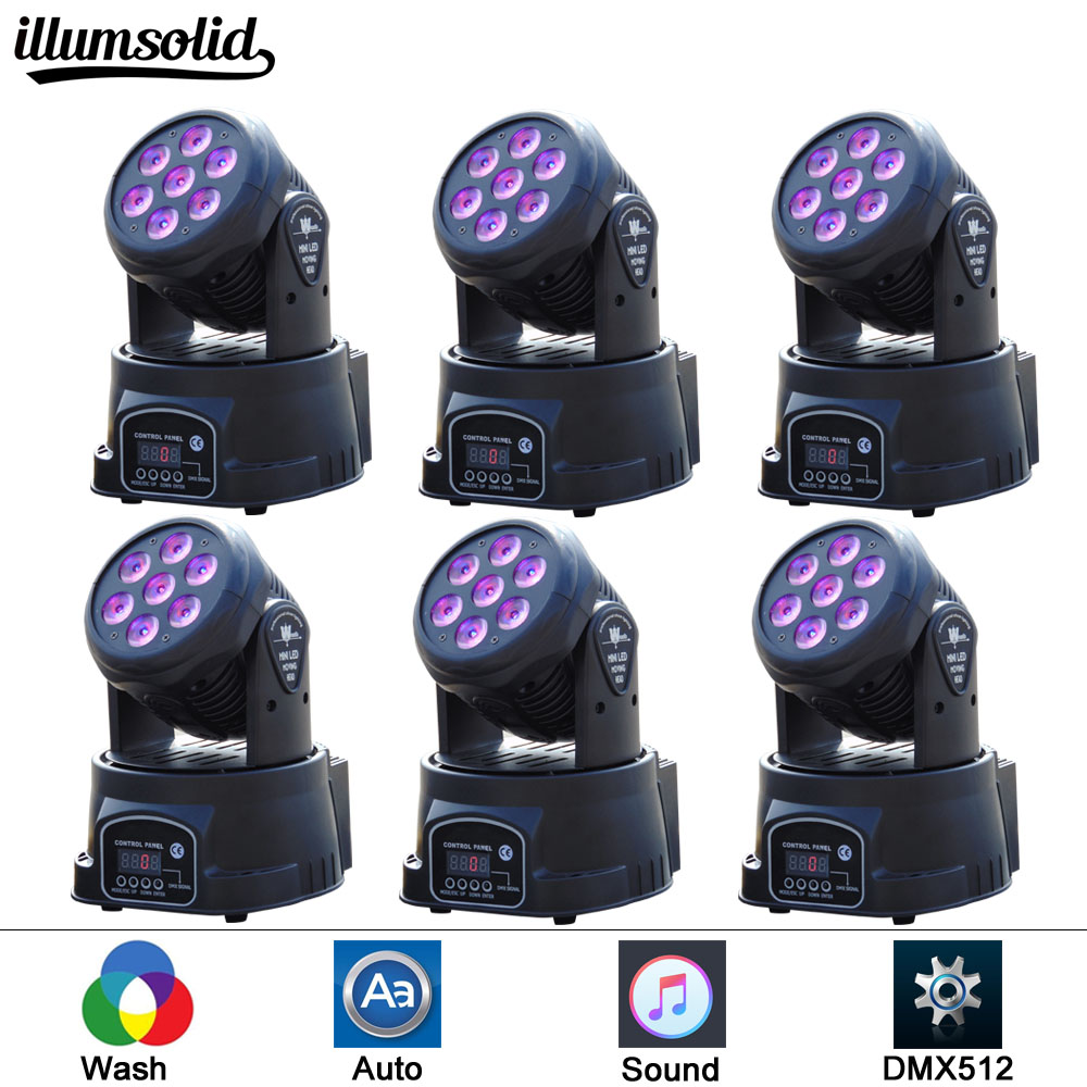 6 pcs/lot 7X12W Mini LED DMX Wash Moving Head Light Club DJ Stage Lighting Party Disco Moving heads Light