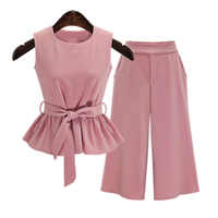 2019 Plus Size 5XL Summer European Style Sleeveless Tops Three Quarter Pants Women Sets Pink Color Sashes Bow Female Suits