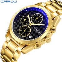 Crrju男性の高級古典ビジネスクォーツ防水時計男性ステンレススチールストラップクロノグラフメンズ腕時計レロジオmasculino