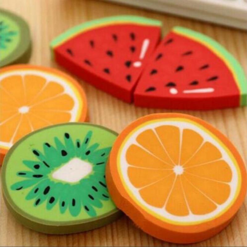 2 Pieces/New Fruit Eraser Watermelon/Kiwi/Orange Creative Kawaii Stationery School Supplies Papelaria Children'S Writing Gift