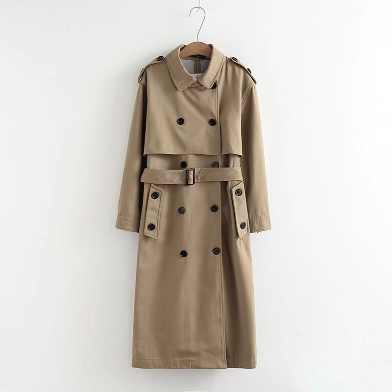 Khaki Trench Coat Women Casual Solid color Double Breasted Outwear Sashes Office Coat Chic Epaulet Design Long Trench Coat 2727
