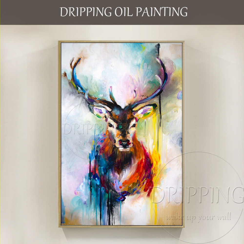 Professional Artist Hand Painted High Quality Abstract: Top Artist Hand Painted High Quality Abstract Deer Oil