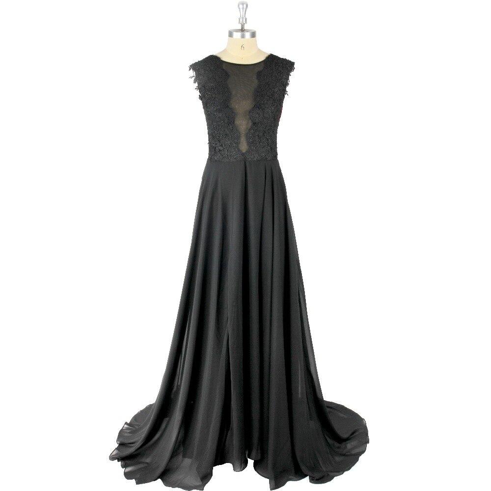 Black Applique Chiffon Scoop Neck A-Line Floor-Length Sweet Brush Train Zipper   Prom     Dress