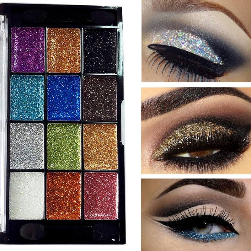 Beauty & Health 12 Color Glitter Eyeshadow Palette Shimmer Gold Shine Eyeshadow Glitter Shiny Eyeshadow Blue Eye Shadows Cosmetics Tool Diamond