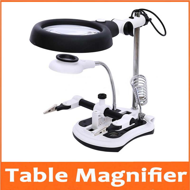 2.5X 6X 108mm LED Illuminated Table Lamp Desk Magnifier Cellphone Repair Magnifying Glass with 18pcs Lights and Plug 110V-220V 10 led desktop magnifying glass lamp hands free illuminated magnifier w 2 ways batteries or external plug charger power supply