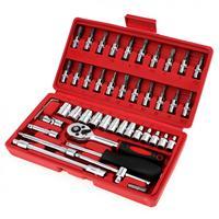 46pcs 1/4 Inch High Quality Socket Set Car Repair Tool Ratchet Set Torque Wrench Combination Bit set of keys Chrome Vanadium set