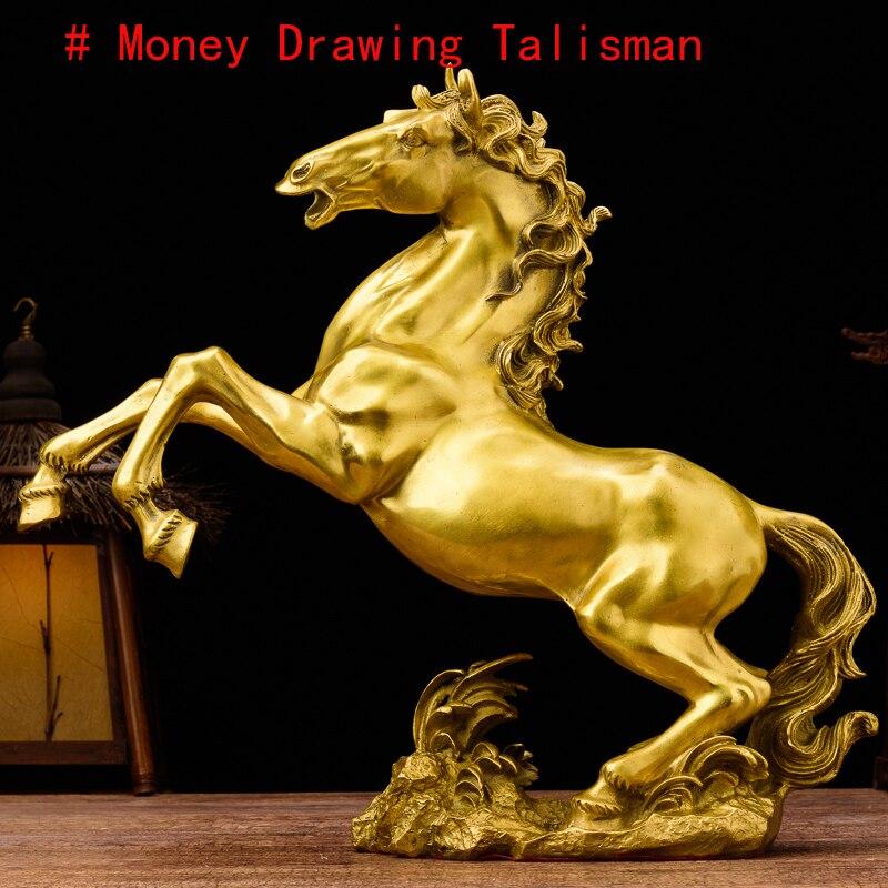 2019 bonne entreprise art efficace argent dessin Talisman mascotte bonne chance succès maison boutique FENG SHUI or cuivre cheval statue