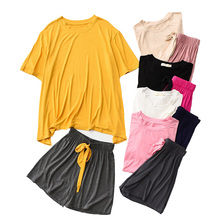 Spring And Summer New Women Homewear Contrast Color Comfort home Clothing Soft Ladies Soft Pajamas Set Round Neck+Shorts Female
