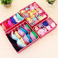 4pcs/set Drawer Closet Organizers Boxes For Underwear Bra Home Storage Non-woven Scarfs Socks Bra Organizer Storage Box