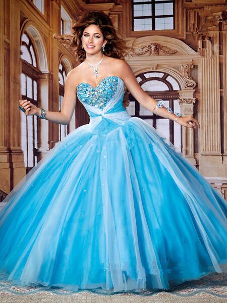 Azul e branco Tulle Quinceanera 15 anos vestido de Baile Querida com Jaqueta Frisado Strass Até O Chão Vestido Quinceanera