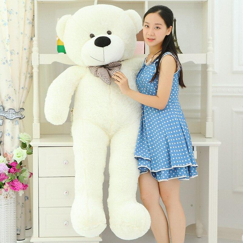 big plush lovely  teddy bear toy big eyes bow bear toy stuffed white teddy bear gift 160cm 0100