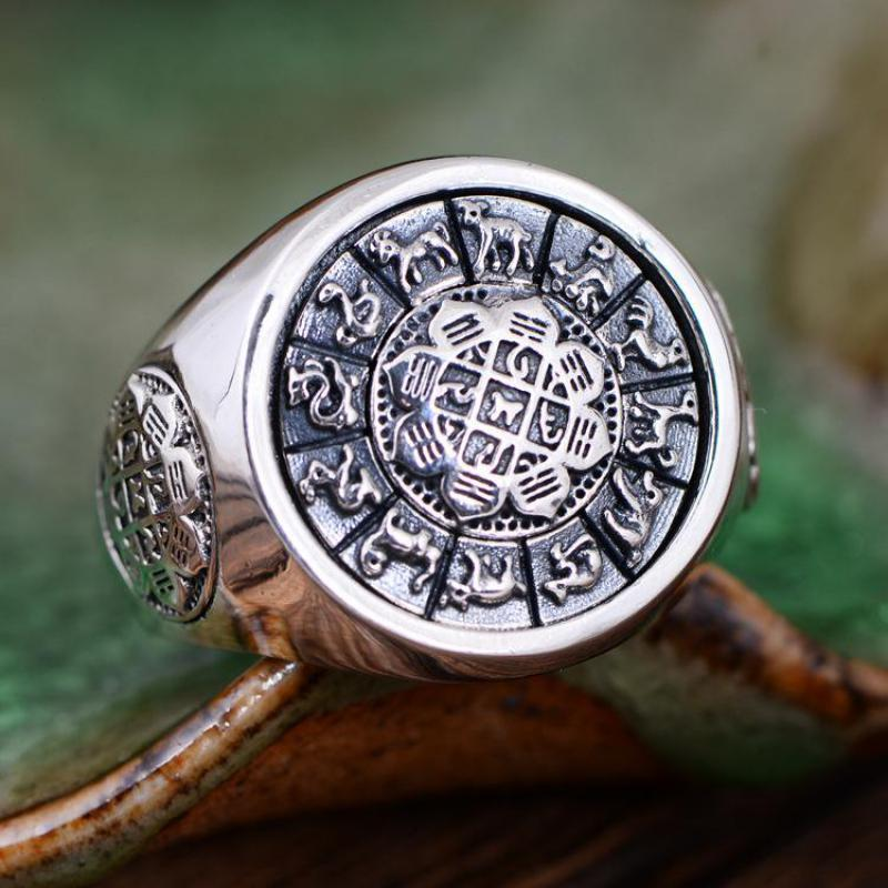 Vintage 925 Sterling Silver Jewelry Exaggerated Large Mens Rings Rotatable Jiugong Bagua Twelve Chinese Zodiac Signs chinese zodiac signs chinese new year gifts chinese zodiac symbols chinese paper cuts dragon