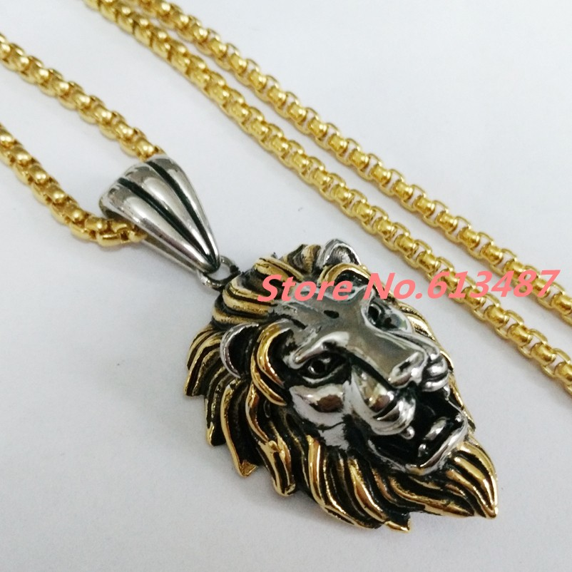 Hot Fashion Jewelry Biker Pendant Stainless Steel Silver Gold Lion ...