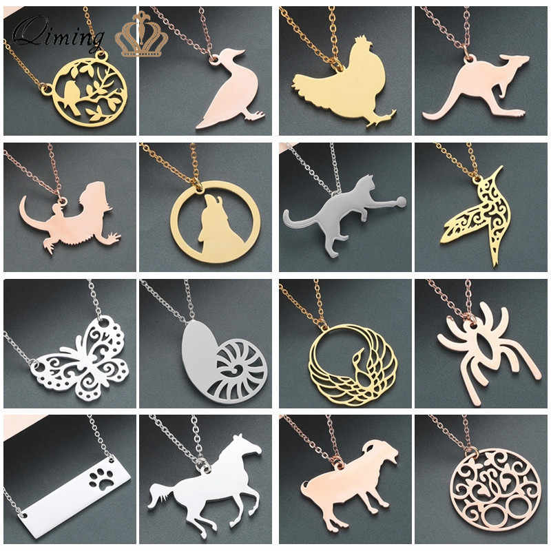 2019 Trendy Wolf Animal Women's Necklace Female Gold Chain Stainless Steel Jewelry Kawaii Vintage Punk Cute Girls Necklace
