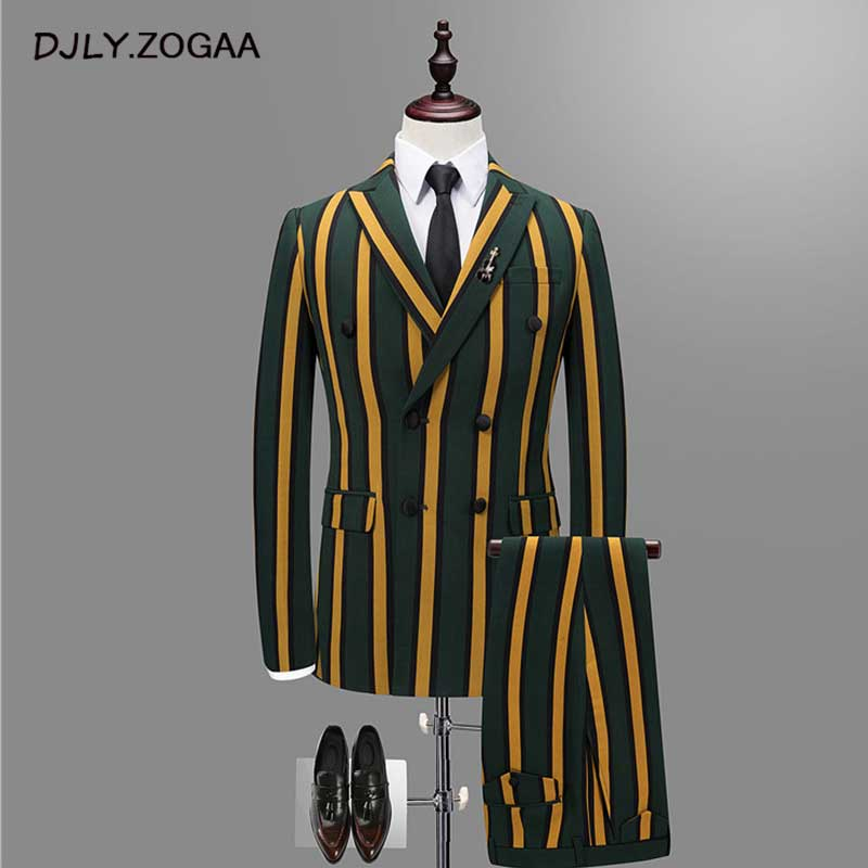 ZOGAA 2019 Vertical Stripe Men Business Suit Male Thin Double Breasted Jacket Men's Fashion Vest + Pants + Jacket 3PCS Suit