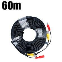FLOUREON 60 м CCTV камера-видеорегистратор регистраторы видео кабель DC мощность видеонаблюдения BNC кабель для проводной AHD камера