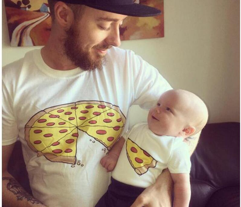 1PC Family Look Family Mother & kids Cute pizza cotton short sleeved T - shirt Family Clothing Father mother Baby clothes