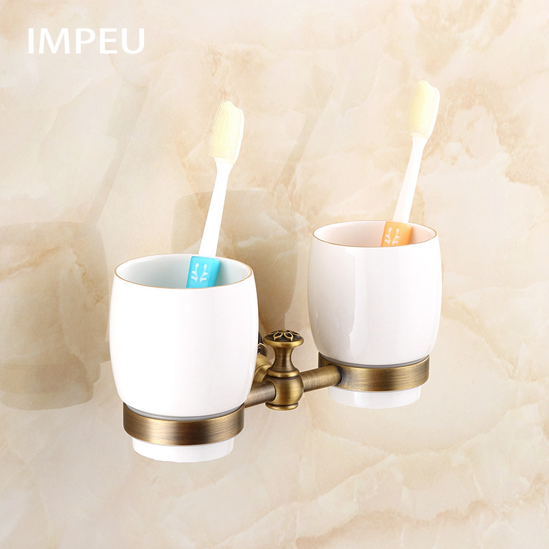 Antique Style Solid Brass Wall Mount Double Cup Tumbler Holder Toothbrush Holder European Hotel Collection Antique