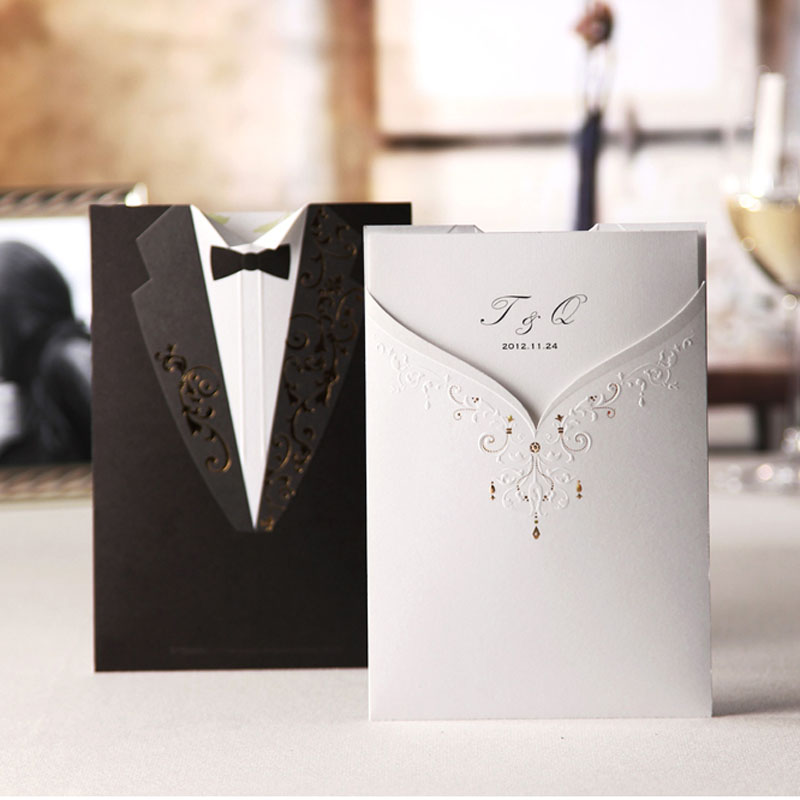 Best Suit Dress Type Love Wedding Invitations Black And White