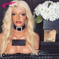 Высокое Качество 613 Блондинка Полный Парик Шнурка Бесклеевого Парик Фронта Шнурка тело волна Перуанских девы Человеческих Волос Парики 150% плотность Свободный корабль