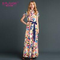 S FLAVOR Brand Bohemian Style Summer Autumn Women Dress Long Dresses Hot Sale Short Sleeve Printing