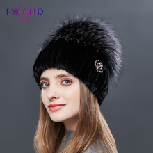 ENJOYFUR Genuine Fur Caps Real Mink Fur Sliver Fox Fur Hats Knitted Thick Warm Winter Hats For Women High-end Quality Casual Cap