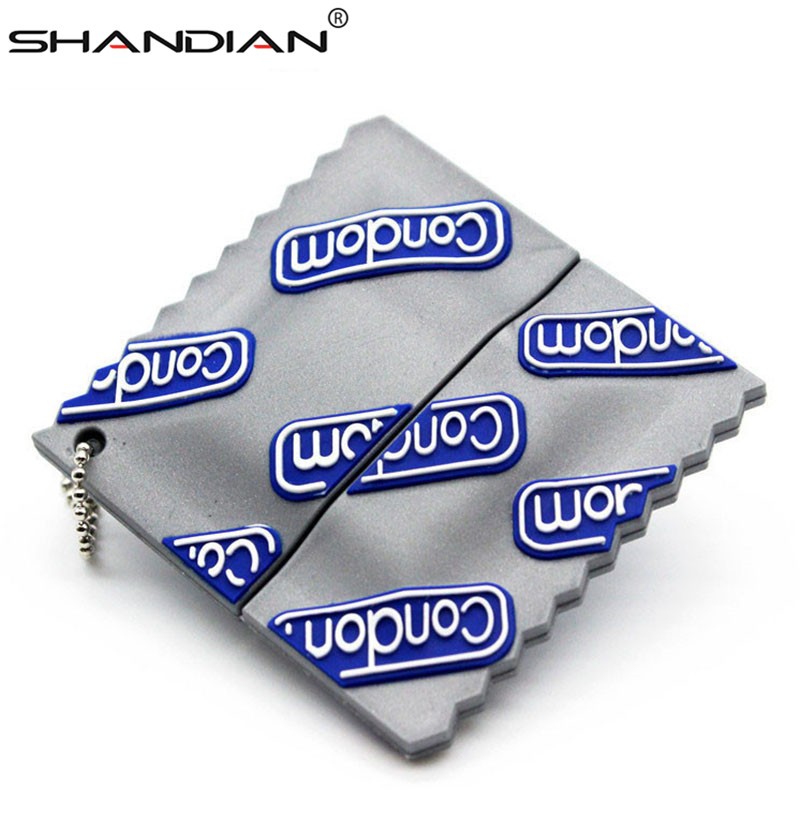 SHANDIAN New Product Promotion Usb Condom Flash Pen Drive64GB/ 32gb/16gb/8gb/4gb USB 2.0 Flash Memory Stick U Disk Gift