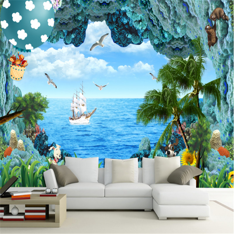 custom photo wallpaper 3D sea view fresh and beautiful wallpaper living room bedroom TV background wall 3D non-woven mural book knowledge power channel creative 3d large mural wallpaper 3d bedroom living room tv backdrop painting wallpaper