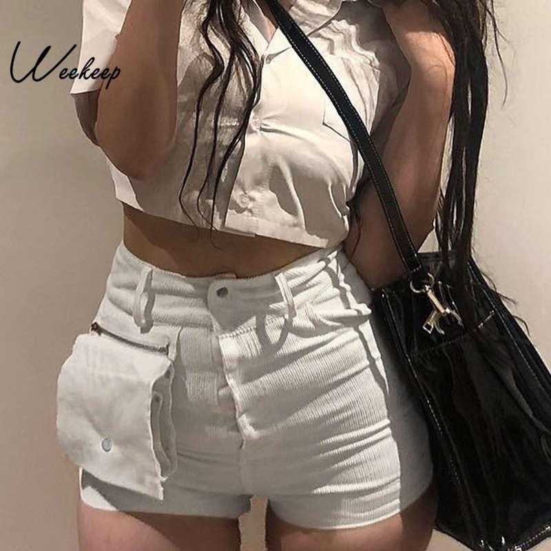 Weekeep Patchwork Shorts Detachable-Pockets White Women Streetwear Feminino High-Waist