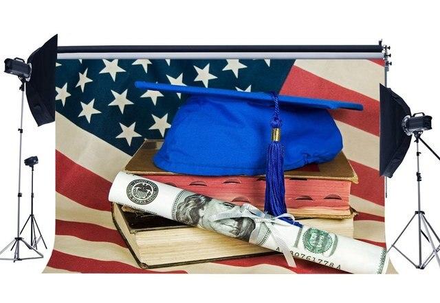 التخرج حفل خلفية القلنسوة الجامعية على الكتب القديمة درجة شهادة الخلفيات الأمريكية العلم خلفية