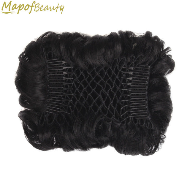 Short Curly Chignon Womens Synthetic Hair Bun Black Brown Hair