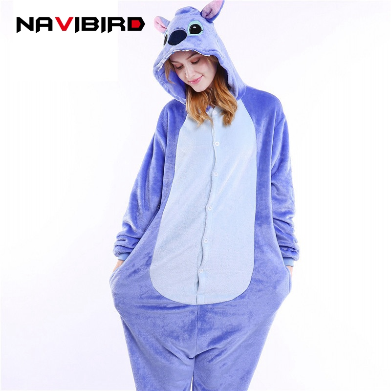 Winter Homewear Kigurumi For Adults Cute Animal Blue Stitch Lilo Long Sleeve Hooded Onesie Woman Animal Onesies Pajamas