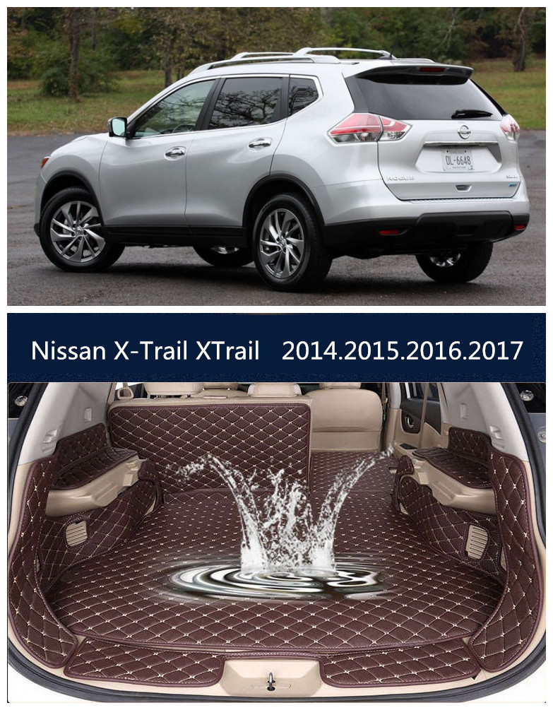 For Nissan X-Trail XTrail 2014.2015.2016.2017.2018 Full Rear Trunk Tray Liner Cargo Mat Floor Protector foot pad mats for chevrolet captiva 2008 2017 5 7 seat full rear trunk tray liner cargo mat floor protector foot pad mats embroidery leather