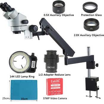 3.5X 7X 45X 90X Articulating Arm Pillar Clamp Simul-Focal Industrial Trinocular Stereo Microscope + 37MP HDMI USB Video Camera