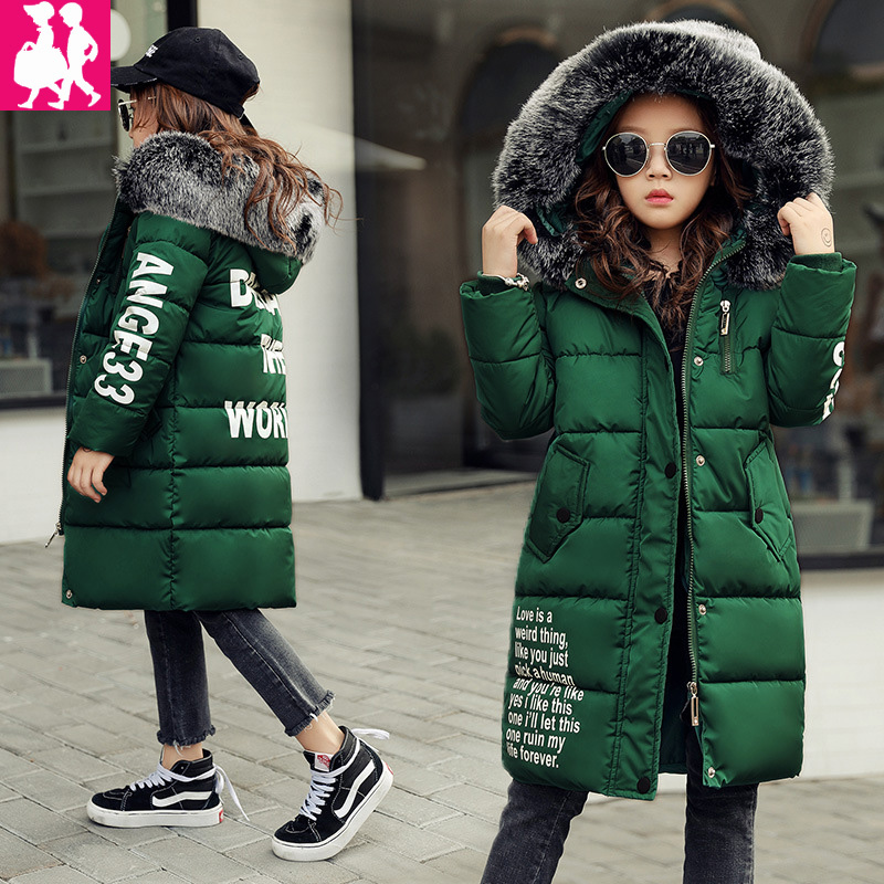 2018 New Jackets Girls Autumn Winter Coat Cotton Padded Fur Hooded Kids Jacket For Girls Clothes Children Clothing Parkas Girl keaiyouhuo 2017 new winter coat children clothes long sleeve printing jackets for girls cotton kids down jacket hooded outerwear