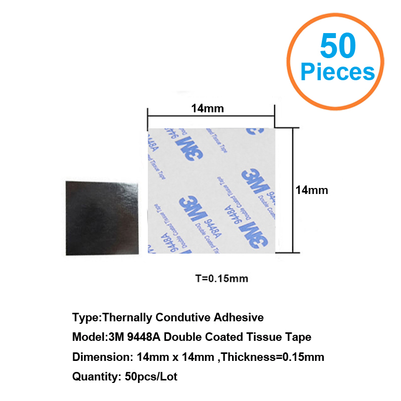 50pcs 3M9448A 14x14x0.15mm Double Coated Tissue Tape Thermally Conductive Adhesive thermal pad for heat sink heatsink radiator 20pcs lot aluminum heatsink 14 14 6mm electronic chip radiator cooler w thermal double sided adhesive tape for ic 3d printer
