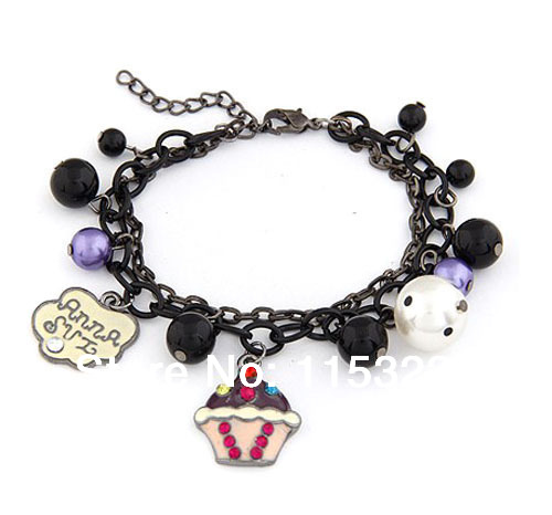 Lovely style Bead cupcake charms for outdoor fun & sports bracelets