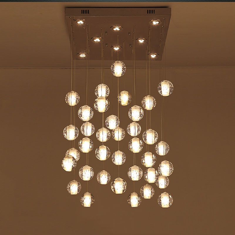 36 Lights Clear Cast Glass Crystal Sphere Magic Ball Meteor Shower Chandelier Polished Chrome Rectangular Stainless Steel Base
