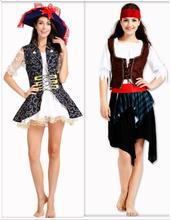 2018 New Halloween Women Adults Pirate Costumes Girls Knight Cavalier Clothing Long Sleeve Black Caribbean Cosplay Dress