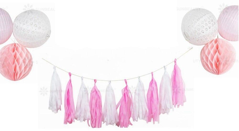 16pc White Pink Hanging Paper Decoration Kit Lanterns Tassel Garland for Marriage Proposal Wedding  Valentines Day Decor