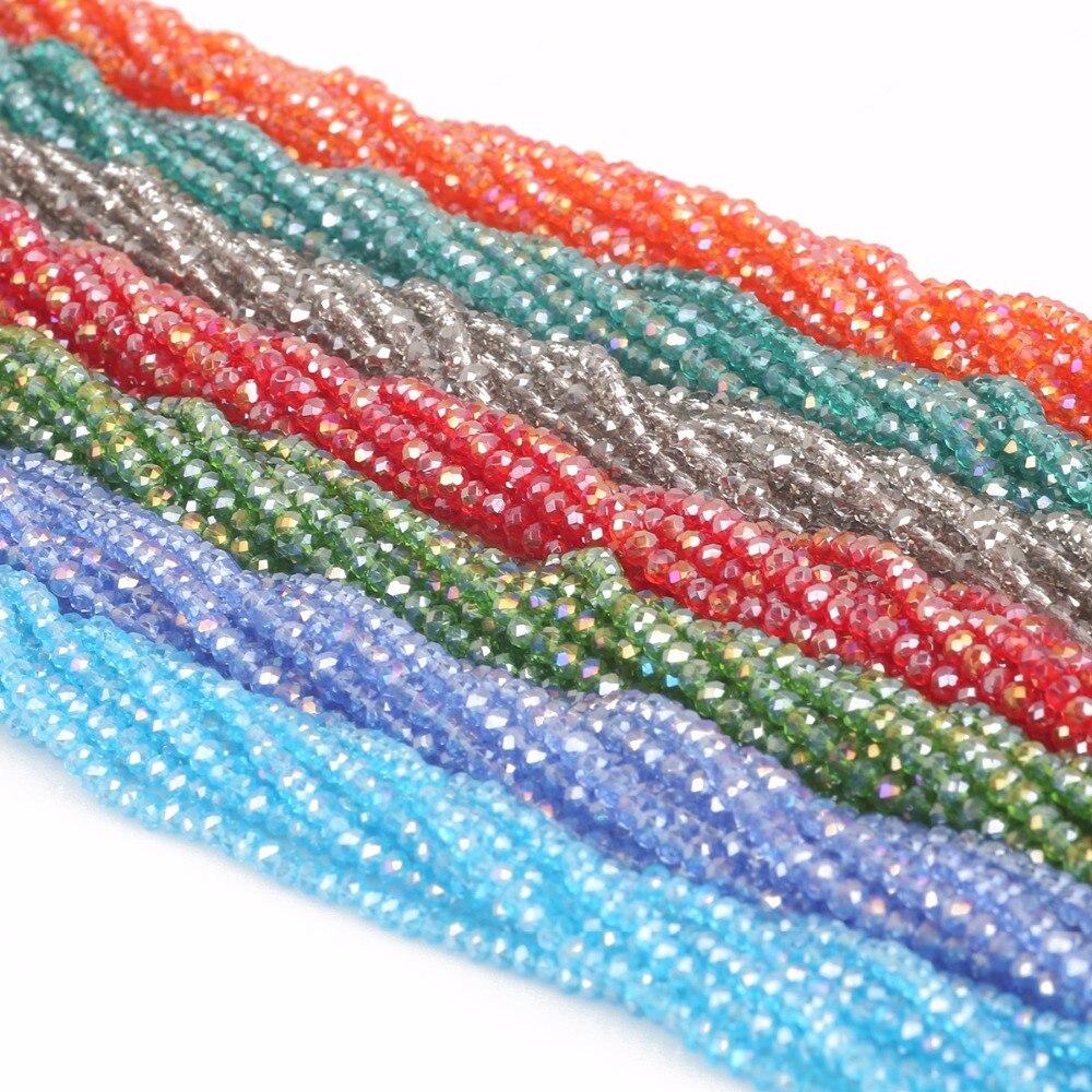 Nicebeads 145-195 Pcs/Lot multicolore 2mm 3mm 4mm verre à facettes perles rondes en vrac cristal couture perles pour la fabrication de bijoux