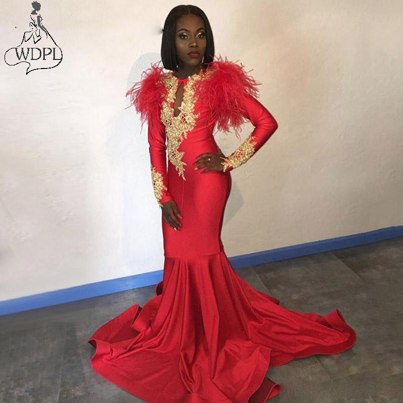 Robes de bal sirène africaine manches longues Appliques or plumes Satin robe formelle soirée personnalisé femmes fête robes de Gala