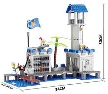 KAZI 87012 365pcs 3D Construction educational Bricks Building Block Sets pirates Navy Headquaters Enlighten for children toys