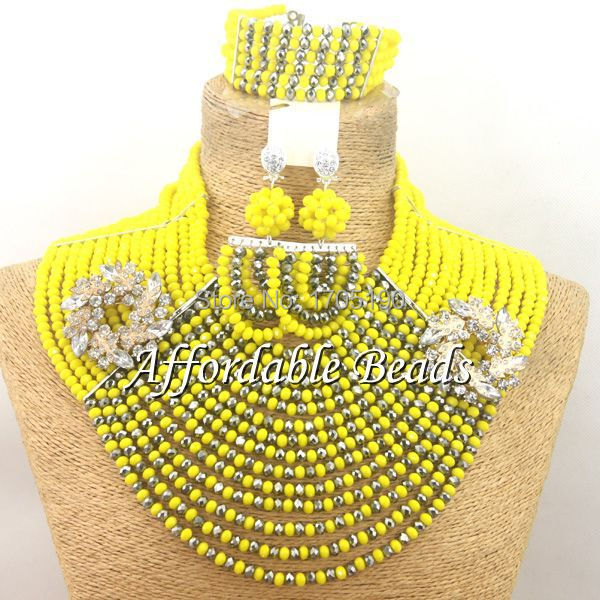 Best Sale African Beaded Jewelry Nice Costume African Jewelry Sets Free Shipping ABW083