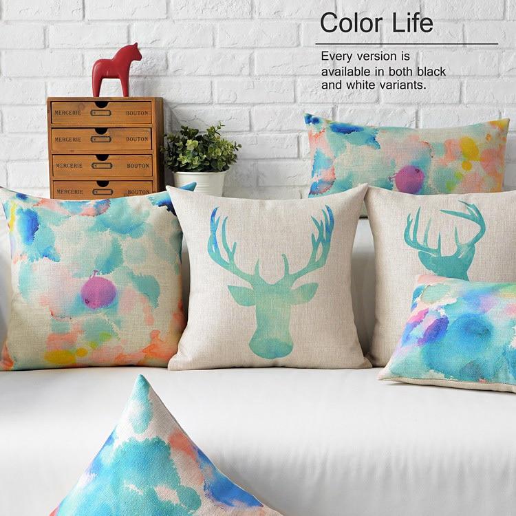 Nordic Watercolor Animal pillow ,color Ink deer cushion