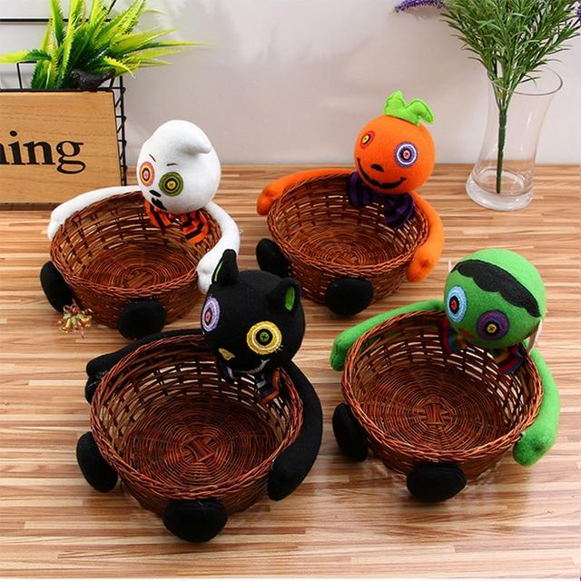 halloween family decorations bamboo rattan small baskets pumpkin dolls children girls boys halloween decorations 009