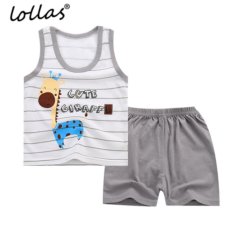 Lollas New Summer Baby Clothing Set Cartoon Boys Girls Kids Vest Clothes Set Sleeveless Sports Cotton Vest + Pants